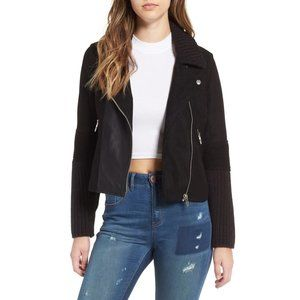 BlankNYC Faux Suede and Knit Moto Jacket